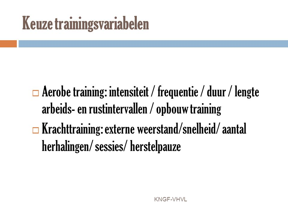 Keuze trainingsvariabelen