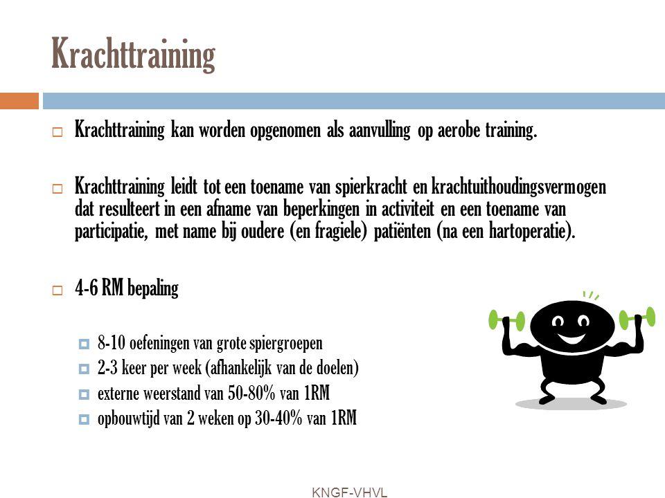 Krachttraining Krachttraining kan worden opgenomen als aanvulling op aerobe training.