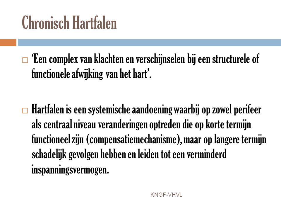 Chronisch Hartfalen 'Een complex van klachten en verschijnselen bij een structurele of functionele afwijking van het hart'.