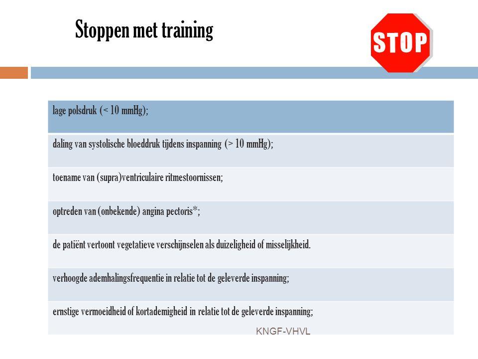 Stoppen met training lage polsdruk (< 10 mmHg);