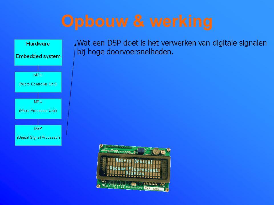 Opbouw & werking Wat een DSP doet is het verwerken van digitale signalen bij hoge doorvoersnelheden.