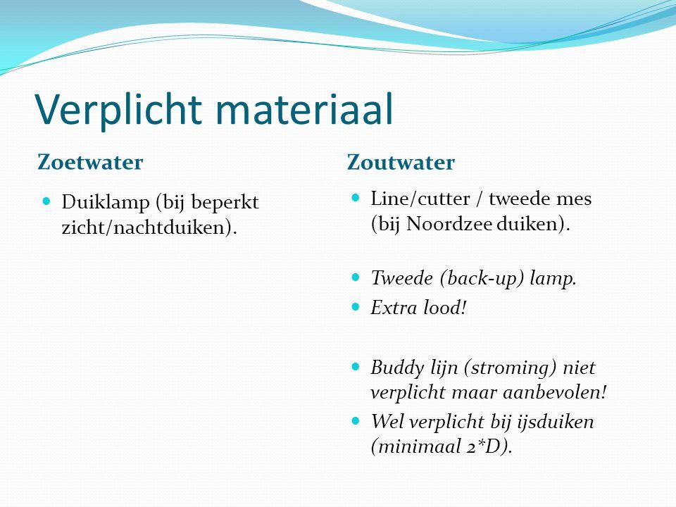 Verplicht materiaal Zoetwater Zoutwater
