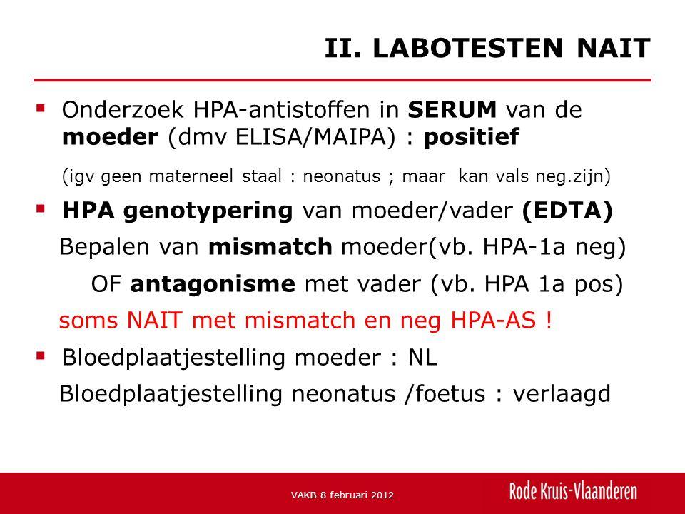 II. LABOTESTEN NAIT Onderzoek HPA-antistoffen in SERUM van de moeder (dmv ELISA/MAIPA) : positief.