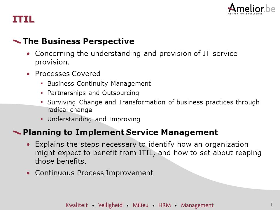 ITIL The Business Perspective Planning to Implement Service Management