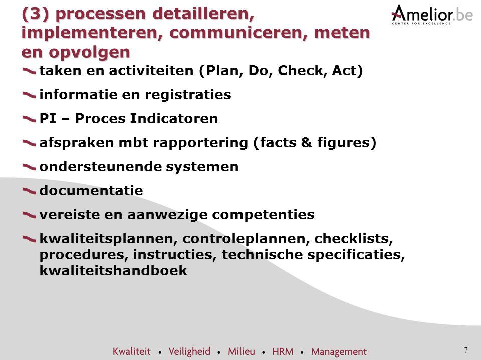 (3) processen detailleren, implementeren, communiceren, meten en opvolgen