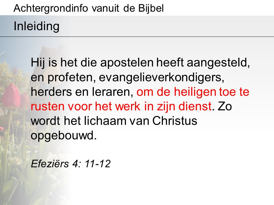 Achtergrondinfo vanuit de Bijbel