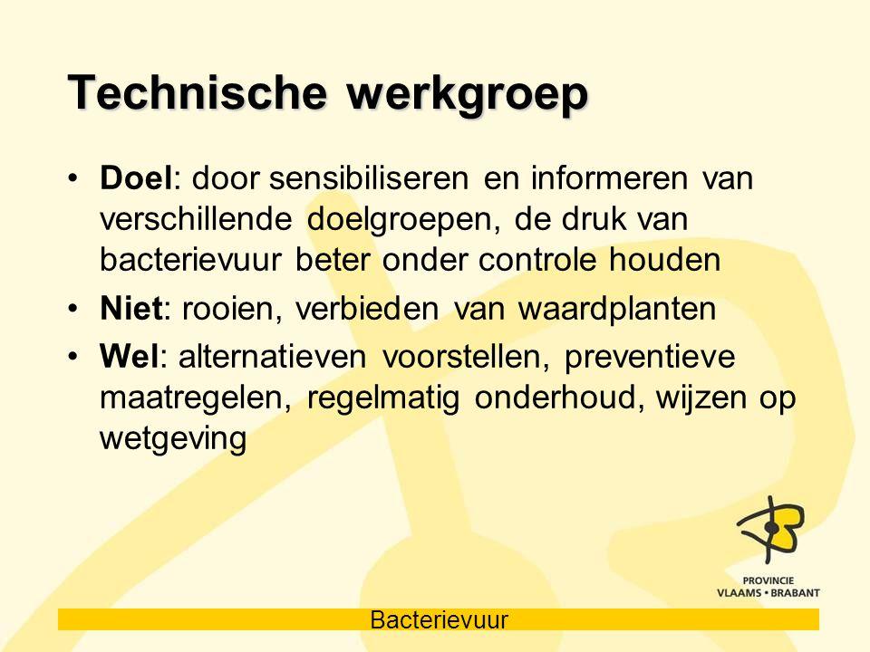 Technische werkgroep Doel: door sensibiliseren en informeren van verschillende doelgroepen, de druk van bacterievuur beter onder controle houden.