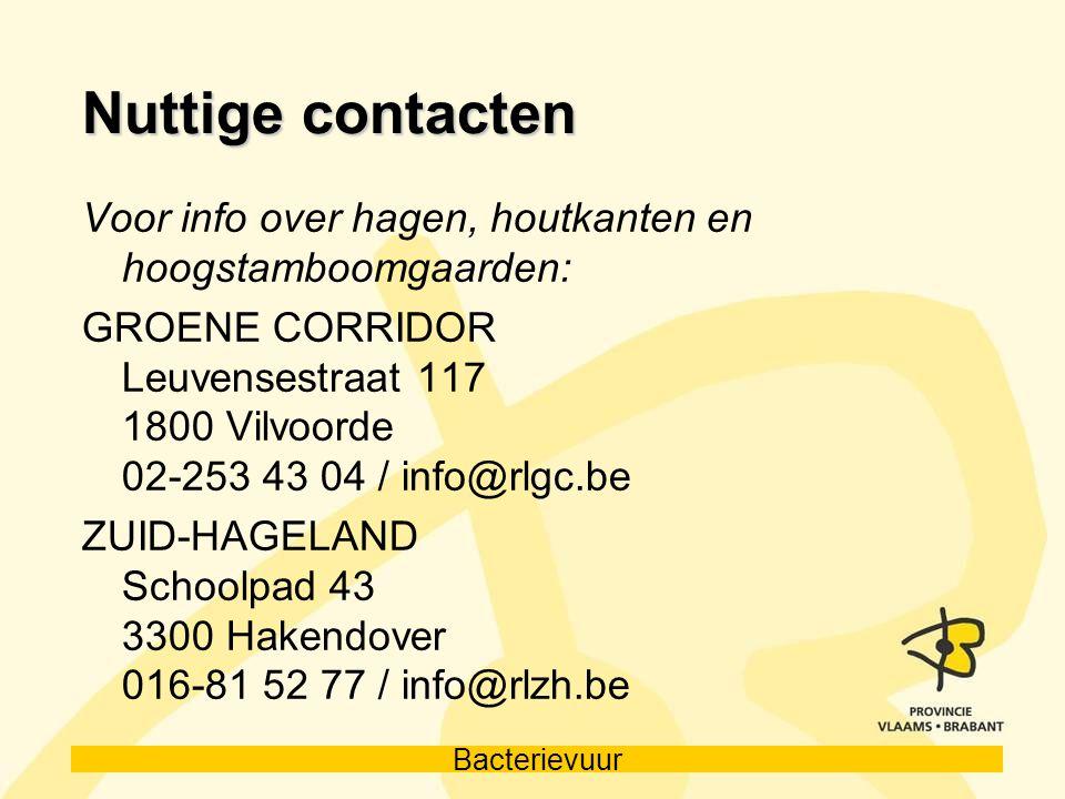 Nuttige contacten Voor info over hagen, houtkanten en hoogstamboomgaarden: