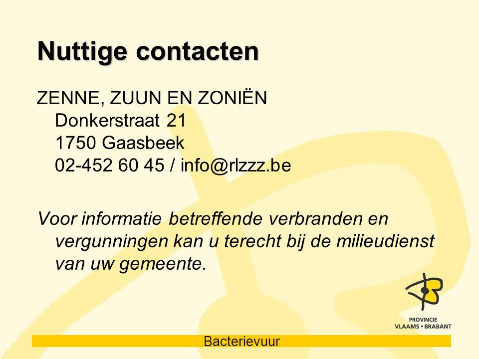 Nuttige contacten ZENNE, ZUUN EN ZONIËN Donkerstraat 21 1750 Gaasbeek 02-452 60 45 / info@rlzzz.be.