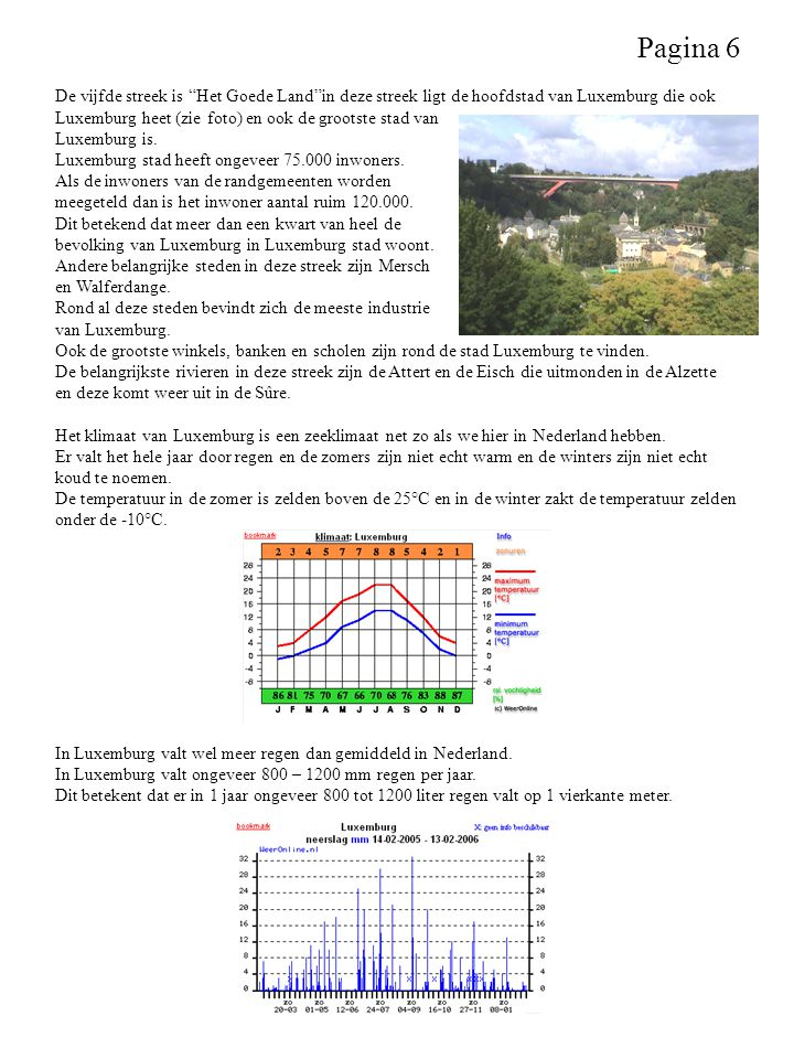 Pagina 6 De vijfde streek is Het Goede Land in deze streek ligt de hoofdstad van Luxemburg die ook.