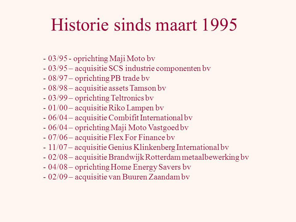 Historie sinds maart 1995 03/95 - oprichting Maji Moto bv