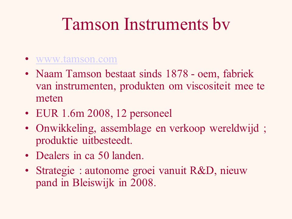 Tamson Instruments bv www.tamson.com