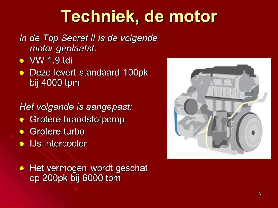 Techniek, de motor In de Top Secret II is de volgende motor geplaatst: