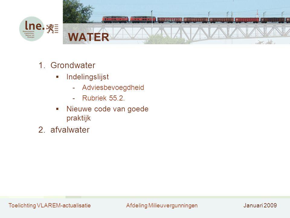 WATER Grondwater afvalwater Indelingslijst