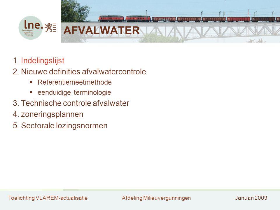AFVALWATER Indelingslijst Nieuwe definities afvalwatercontrole