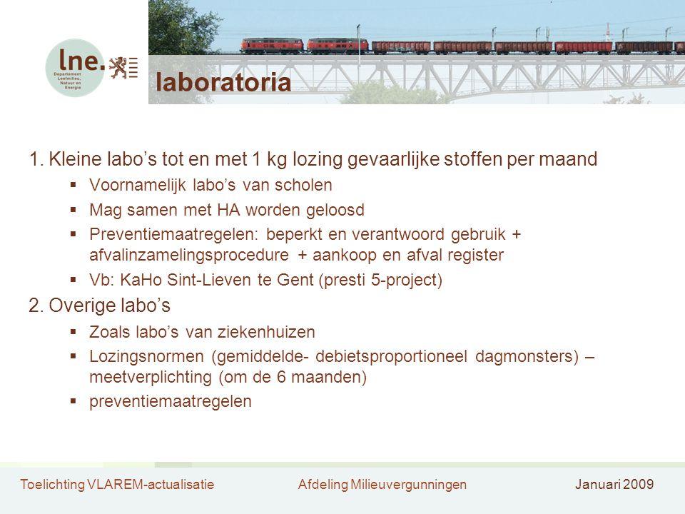 laboratoria Kleine labo's tot en met 1 kg lozing gevaarlijke stoffen per maand. Voornamelijk labo's van scholen.