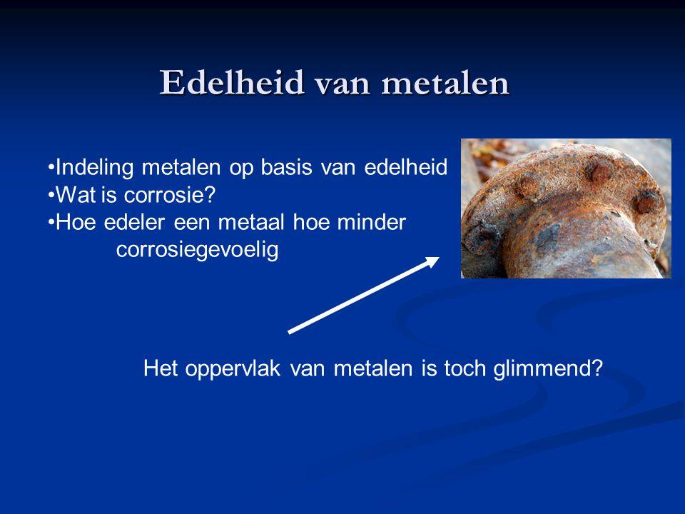 Edelheid van metalen Indeling metalen op basis van edelheid