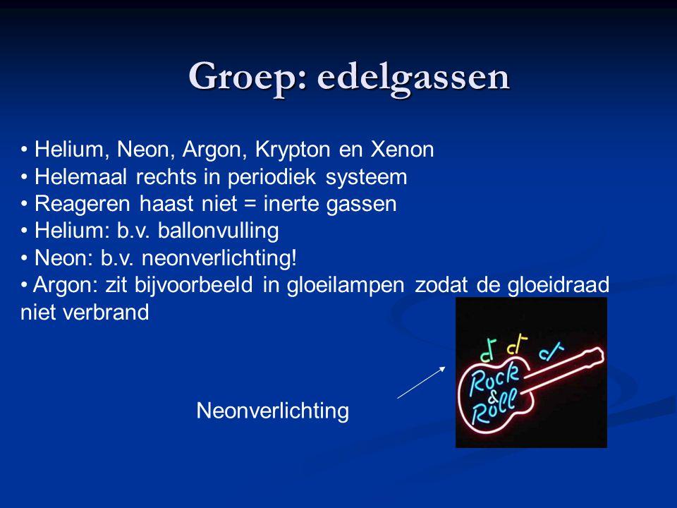 Groep: edelgassen Helium, Neon, Argon, Krypton en Xenon