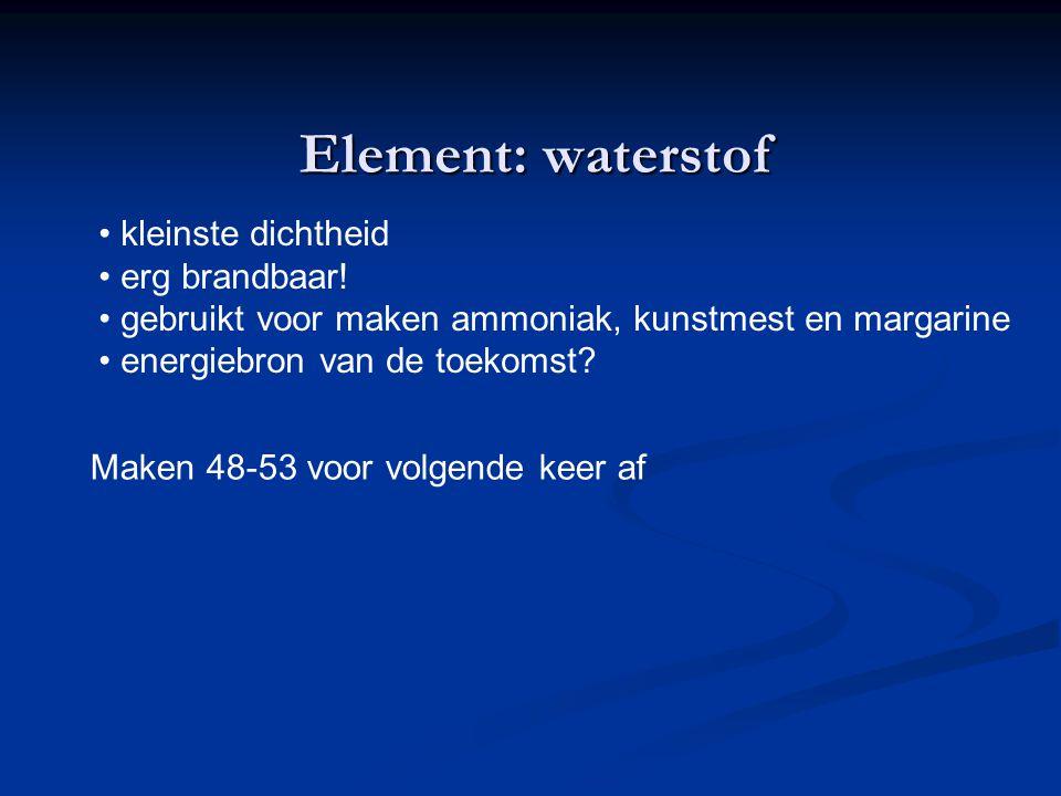 Element: waterstof kleinste dichtheid erg brandbaar!