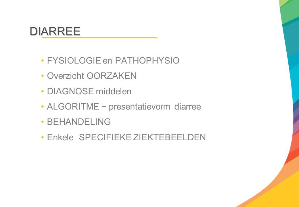 DIARREE FYSIOLOGIE en PATHOPHYSIO Overzicht OORZAKEN DIAGNOSE middelen