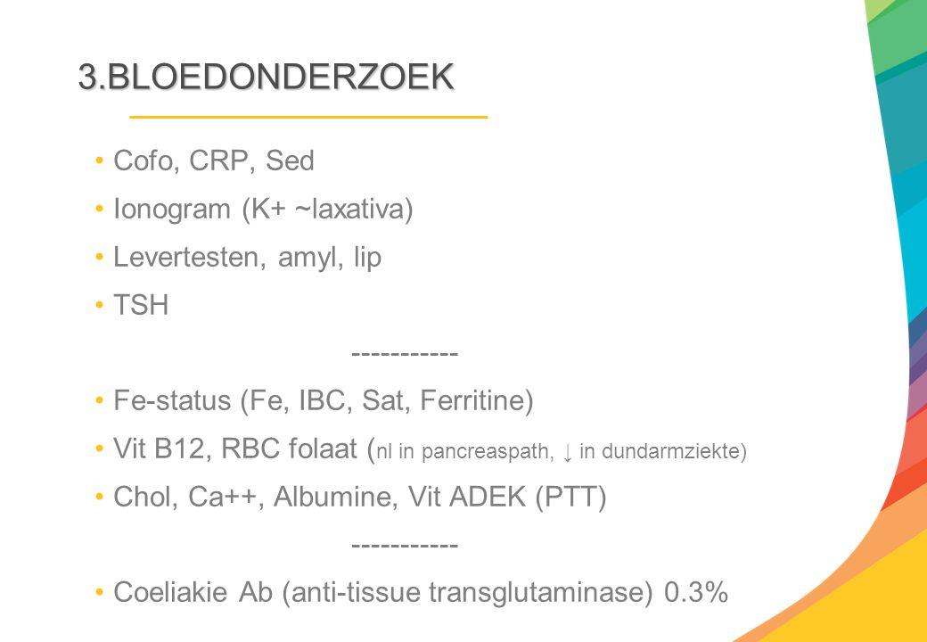 3.BLOEDONDERZOEK Cofo, CRP, Sed Ionogram (K+ ~laxativa)