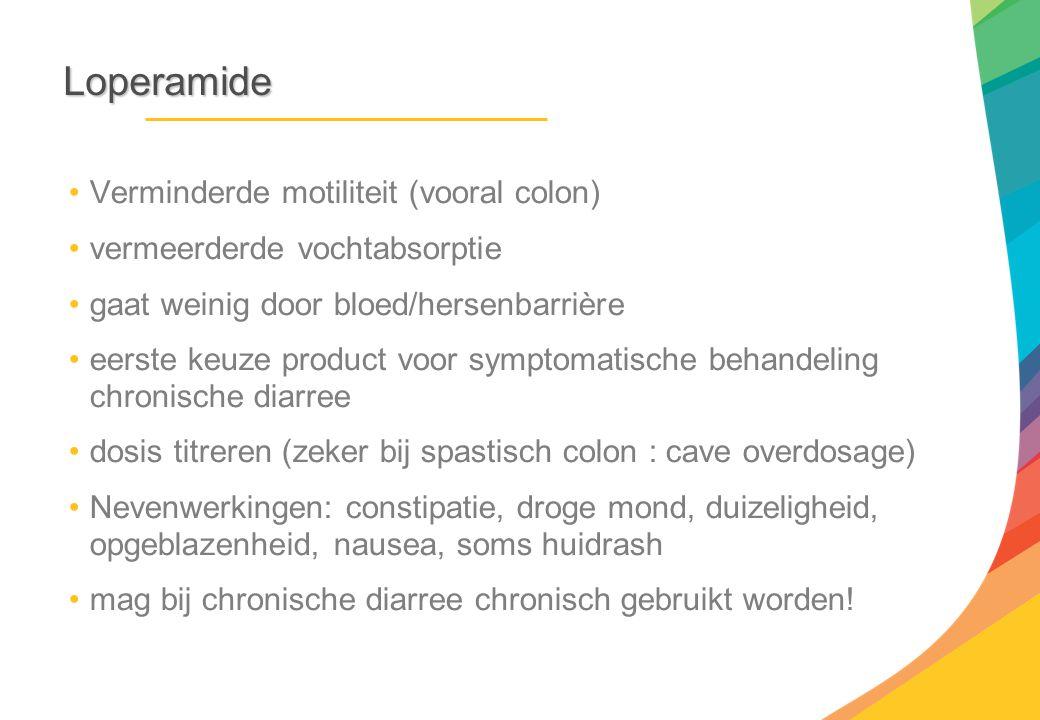 Loperamide Verminderde motiliteit (vooral colon)