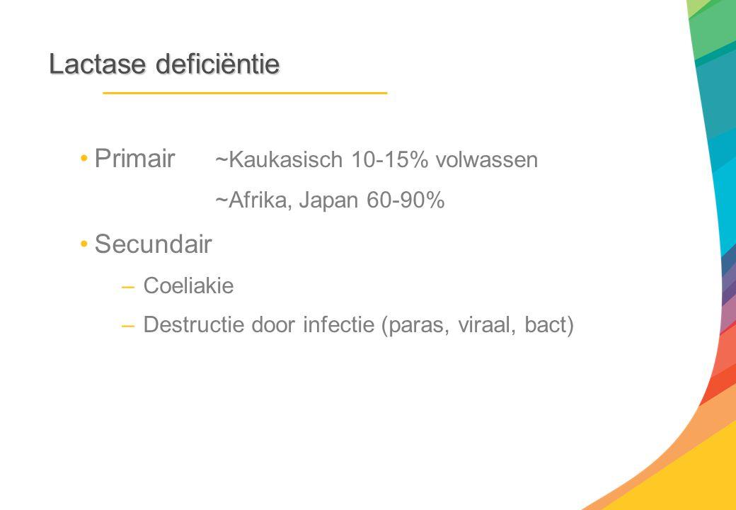 Lactase deficiëntie Primair ~Kaukasisch 10-15% volwassen Secundair