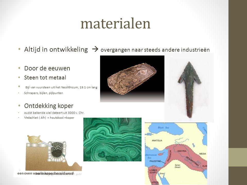 materialen Altijd in ontwikkeling  overgangen naar steeds andere industrieën. Door de eeuwen. Steen tot metaal.