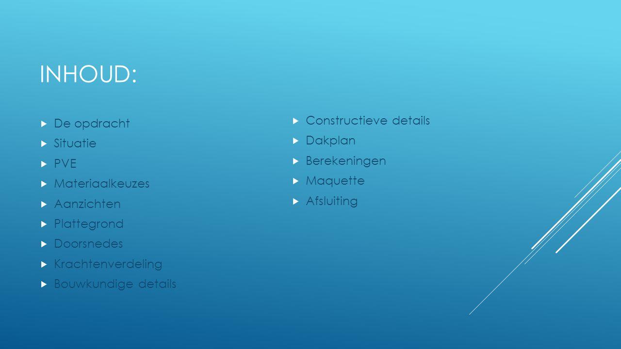 Inhoud: De opdracht Constructieve details Situatie Dakplan PVE
