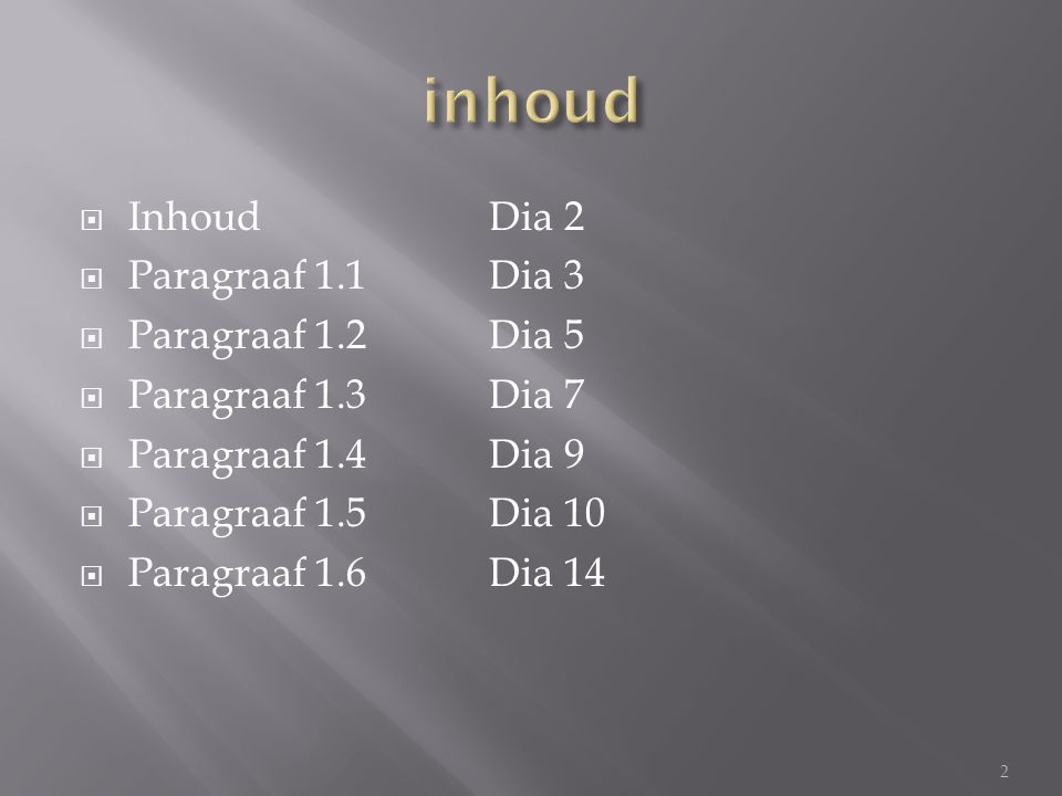 inhoud Inhoud Dia 2 Paragraaf 1.1 Dia 3 Paragraaf 1.2 Dia 5