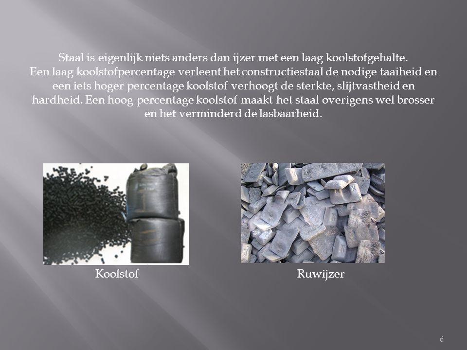 Staal is eigenlijk niets anders dan ijzer met een laag koolstofgehalte