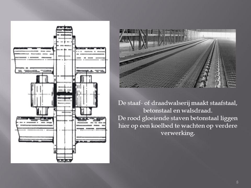 De staaf- of draadwalserij maakt staafstaal, betonstaal en walsdraad