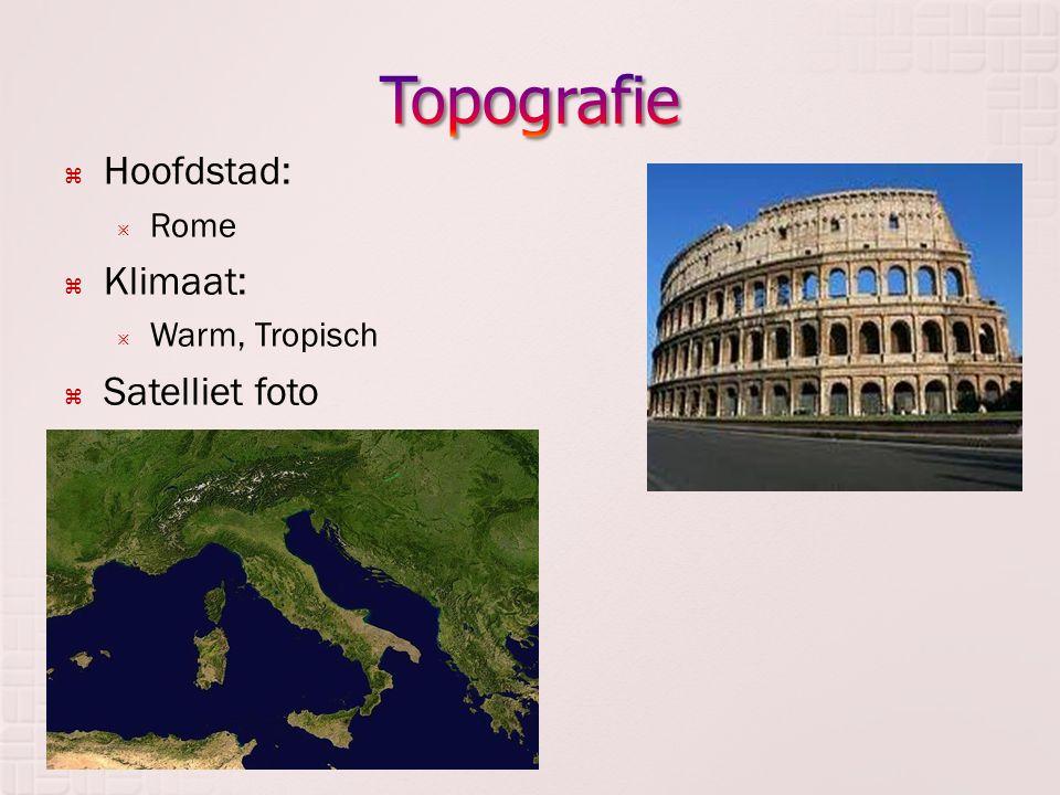 Topografie Hoofdstad: Klimaat: Satelliet foto Rome Warm, Tropisch