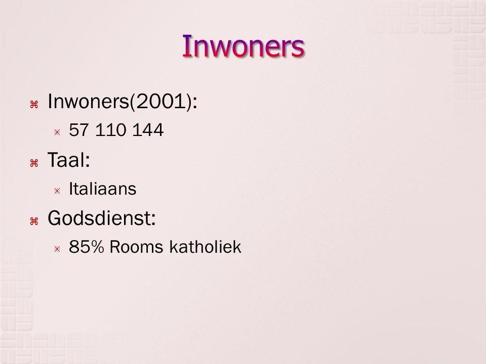 Inwoners Inwoners(2001): Taal: Godsdienst: 57 110 144 Italiaans