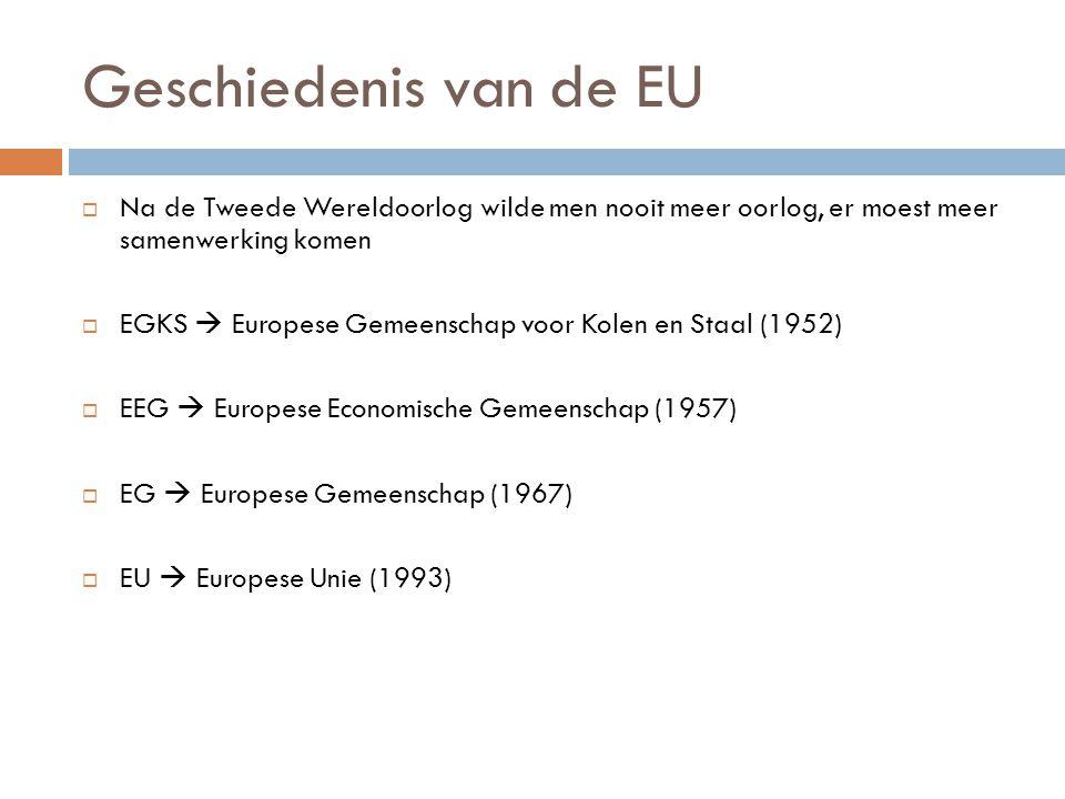 Geschiedenis van de EU Na de Tweede Wereldoorlog wilde men nooit meer oorlog, er moest meer samenwerking komen.