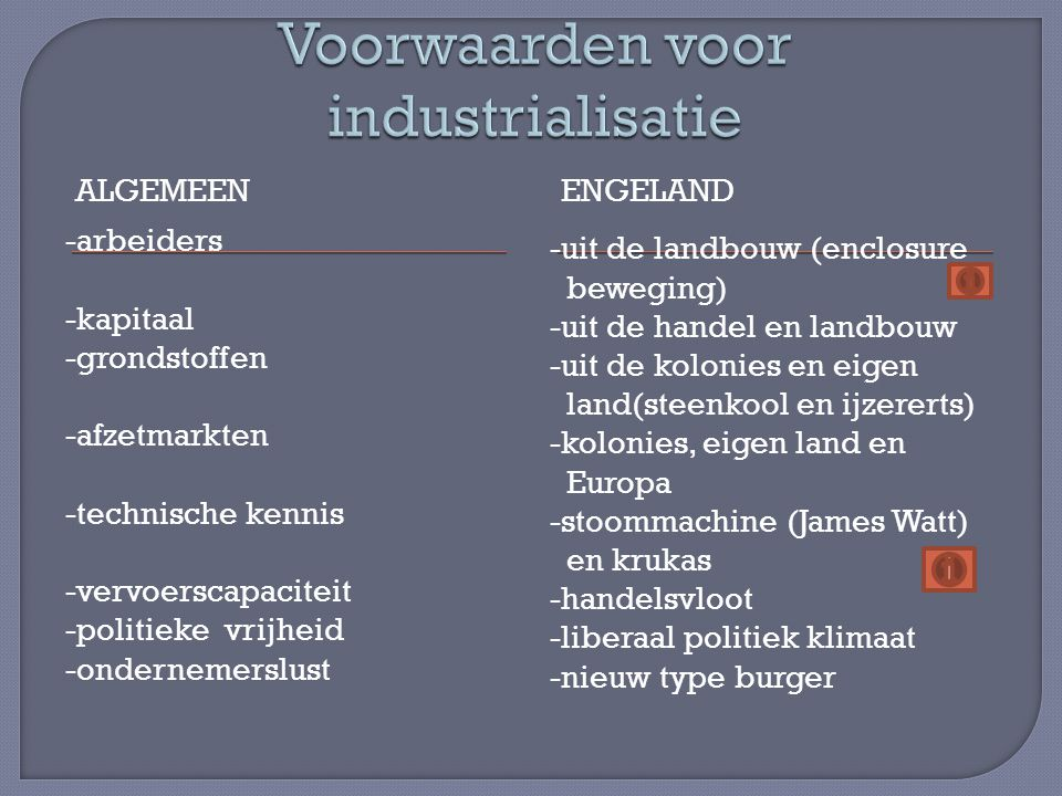 Voorwaarden voor industrialisatie