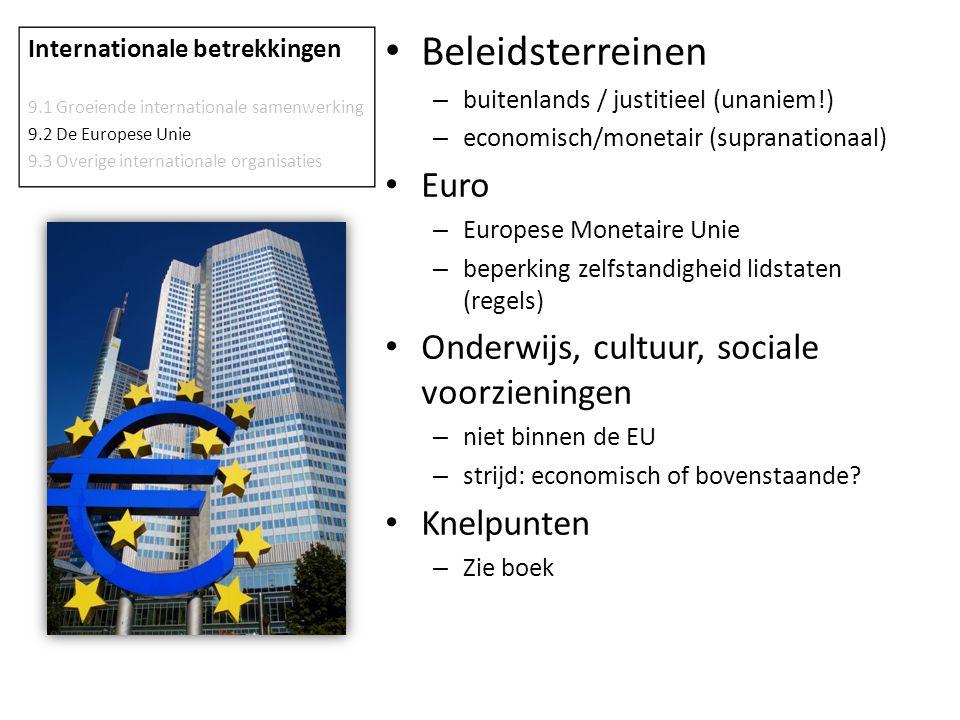 Beleidsterreinen Euro Onderwijs, cultuur, sociale voorzieningen