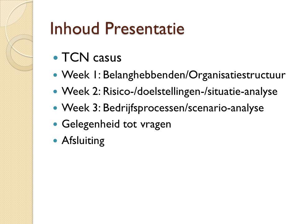 Inhoud Presentatie TCN casus
