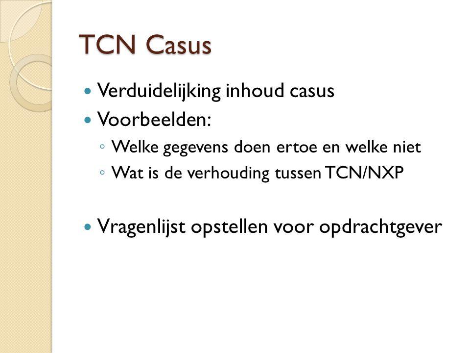 TCN Casus Verduidelijking inhoud casus Voorbeelden: