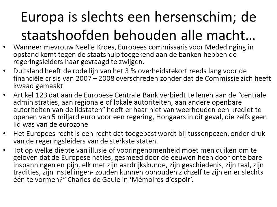Europa is slechts een hersenschim; de staatshoofden behouden alle macht…