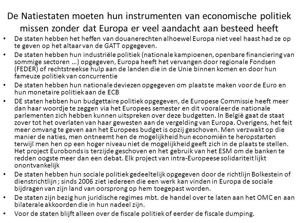 De Natiestaten moeten hun instrumenten van economische politiek missen zonder dat Europa er veel aandacht aan besteed heeft