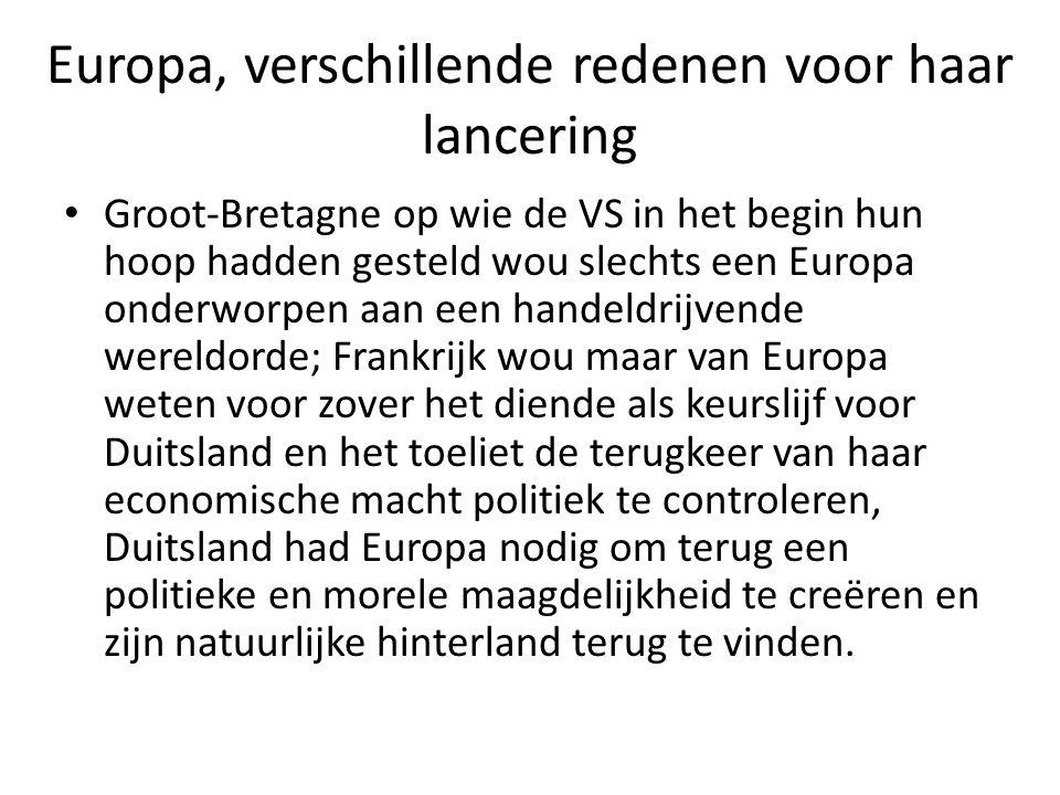 Europa, verschillende redenen voor haar lancering