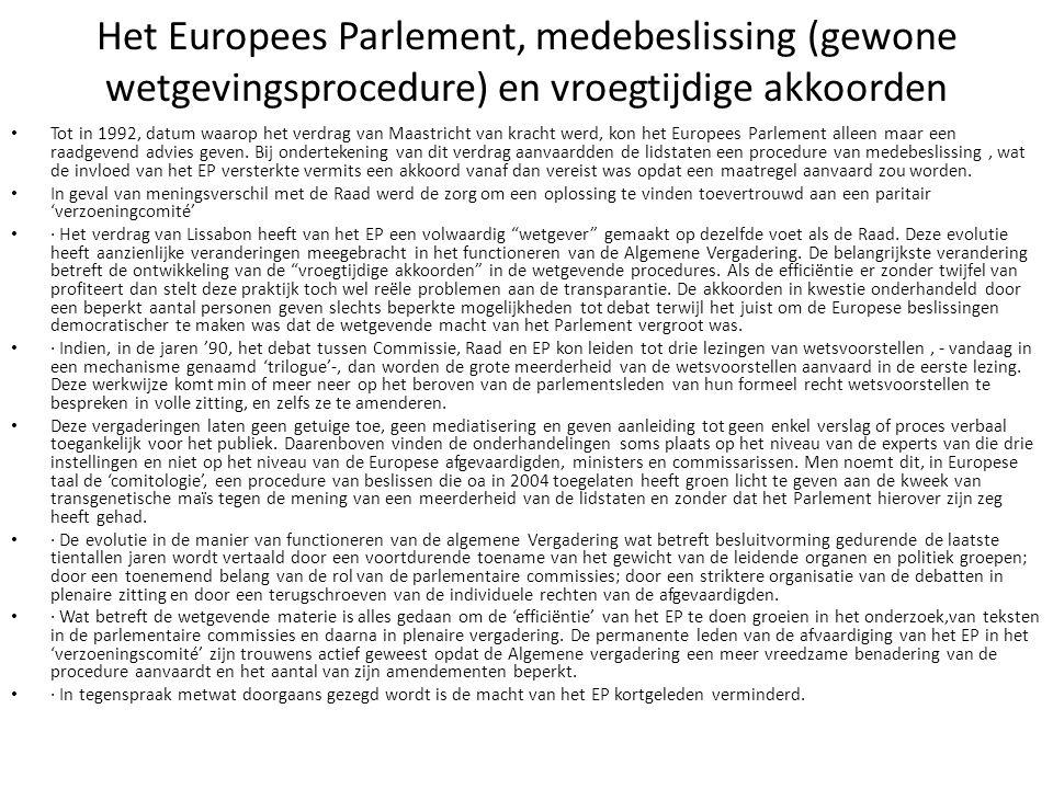 Het Europees Parlement, medebeslissing (gewone wetgevingsprocedure) en vroegtijdige akkoorden