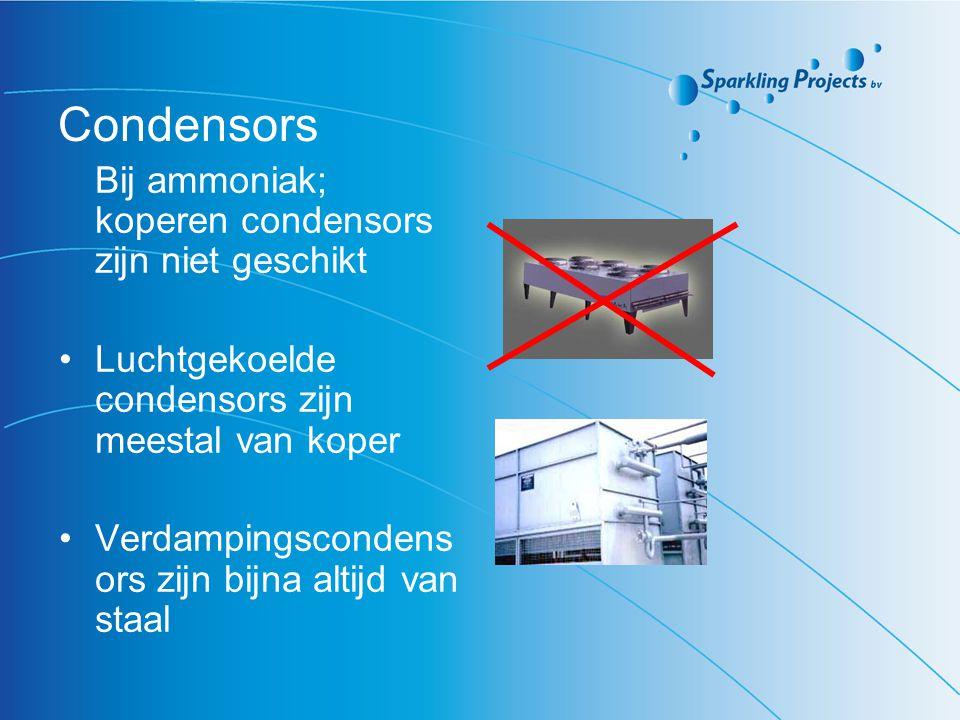 Condensors Bij ammoniak; koperen condensors zijn niet geschikt