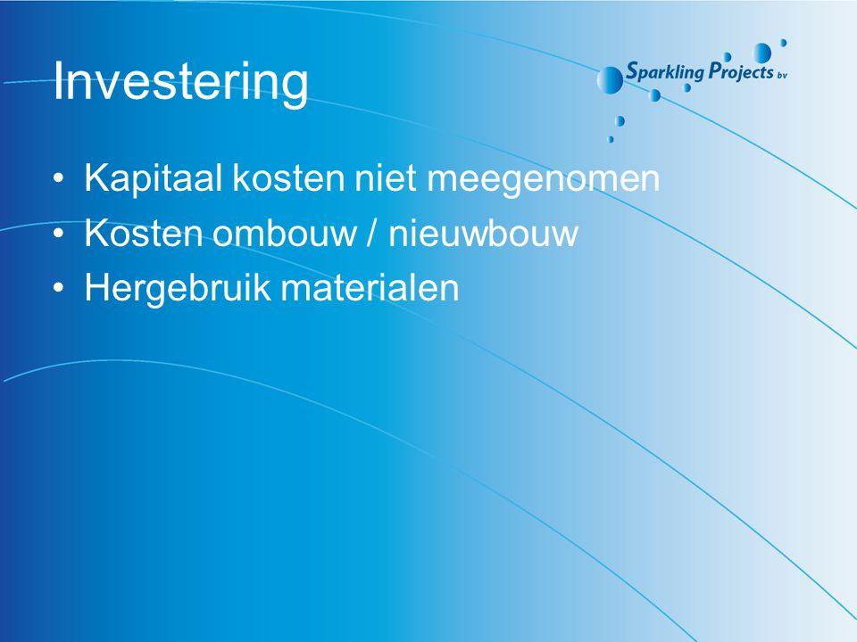 Investering Kapitaal kosten niet meegenomen Kosten ombouw / nieuwbouw