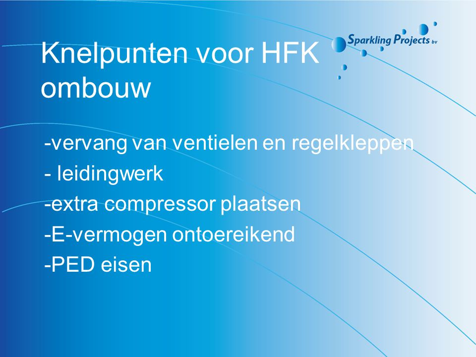 Knelpunten voor HFK ombouw
