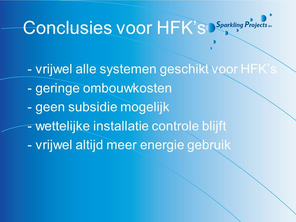 Conclusies voor HFK's - vrijwel alle systemen geschikt voor HFK's
