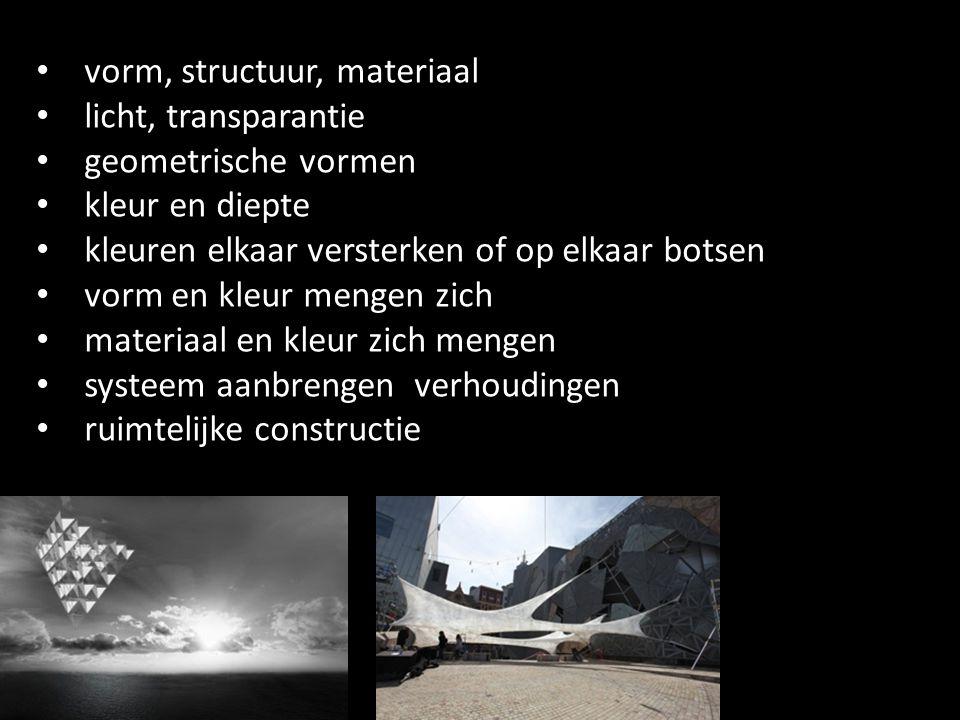vorm, structuur, materiaal