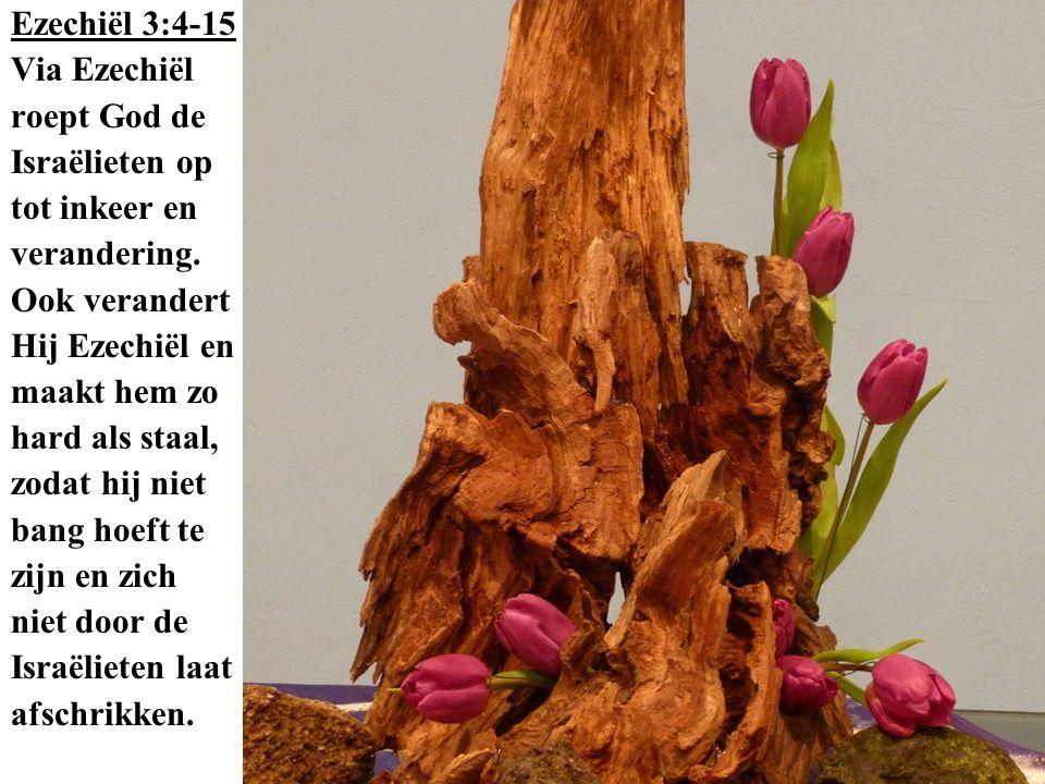 Ezechiël 3:4-15 Via Ezechiël. roept God de. Israëlieten op. tot inkeer en. verandering. Ook verandert.