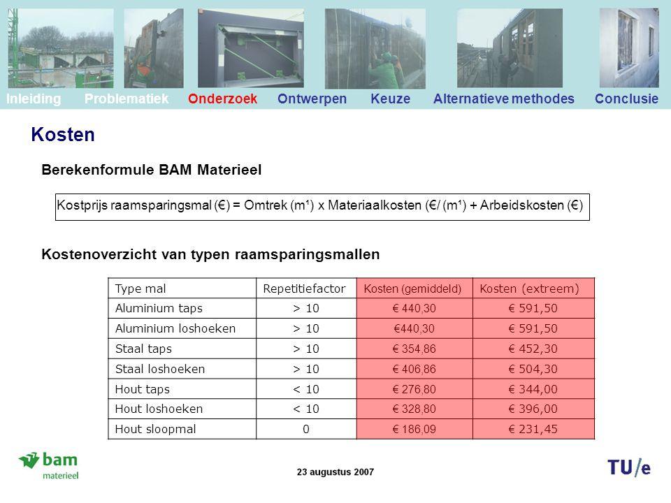 Kosten Berekenformule BAM Materieel